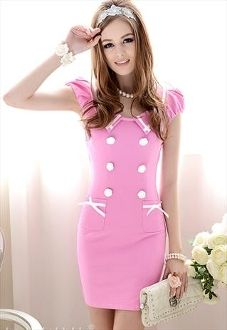 Wholesale Lady's Slim Fit Turn-down Collar Dress In Pink Women's Dresses, Cute Dresses, Fashion Dresses, Cute Outfits, Casual Dresses, Corset Dresses, Fall Outfits, Pink Fashion, Love Fashion