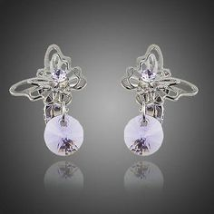 Cute Butterfly Purple Stellux Austrian Crystal Clip Earrings For Women  #rings #khaista #jewelry #fashion #earrings #womensfashion #dresses #women #necklace