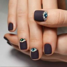 A matte plum nail polish is already bueatiful, but somehow punk. Now if you want glam, you may want to take those diamonds and beads and make some half moon designs.
