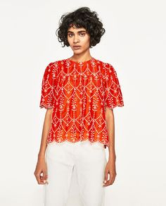Image 2 of CONTRASTING EMBROIDERED TOP from Zara
