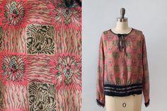 1920s Blouse / RARE Silk SACRED HEART Art Nouveau Novelty Print Flapper Top!!