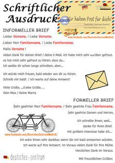 Briefe schreiben Deutsch Wortschatz Grammatik German Alemán DAF