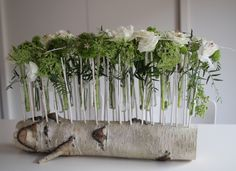 Silver birch log table centre piece designed and made by Naomi Rawlins https://www.facebook.com/nrfloristry
