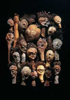 These heads are created from kelps by unique technology. Its a rarity by Czech visual artist František Skála Broken Doll, Art Brut, Shadow Puppets, African Masks, Creepy Dolls, Beach Art, Types Of Art, Artist At Work, Collage Art
