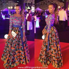 All Things Ankara: Celebrities: DJ Cuppy Wears Mixed Print Ankara Gown to The 2015 Oil Barons Charity Ball in Dubai