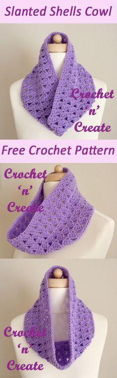 Slanting shells cowl | free crochet pattern | #crochet