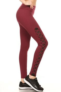 Our Burgundy Criss Cross Mesh Women's Sport Leggings have been an instant hit since the minute we released them onto our website. These superb women's sport leggings are ideal for work, play Mesh Workout Leggings, Mesh Panel Leggings, Women's Sports Leggings, Cross Leggings, Matches Fashion, Faux Leather Leggings, Active Wear, Stay Active, Sports Women