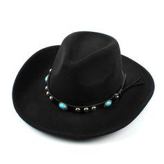 Mens Women Woolen Western Cowboy Hat Vintage Wide Brim Cowgirl Jazz Cap  Horse Riding Hat is hot sale on Newchic Mobile. e2541c60579d