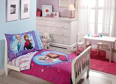 """Disney - Frozen 4pc Toddler Bedding Set Includes: quilted bedspread, fitted bottom sheet, flat top sheet and standard size pillowcase. Sisters are forever with this fun and Frozen toddler bedding featuring Elsa, Anna and Olaf. Brightly styled in colors of aqua, lavender, fuchsia, and white. Fits a standard size toddler/crib mattress 28"""" x 52"""". Fabric is made of 100% Polyester Microfiber. Fits a standard size toddler/crib mattress 28"""" x 52"""". Quilt 42"""" x 57"""". Pillowcase 20"""" x 30"""". Machine…"""