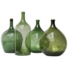glass bottle crafts Set of Four Vintage Green Glass Bottles Demijohns, Lady Jeanne or Carboys Large Wine Bottle, Green Glass Bottles, Glass Bottle Crafts, Old Bottles, Vintage Bottles, Glass Jars, Antique Bottles, Vintage Perfume, Antique Glass