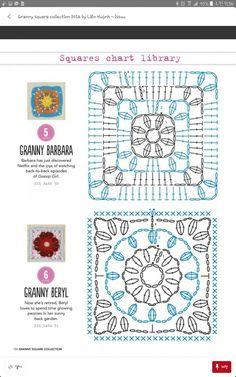 Granny Barbara & Granny Beryl square (diagram) on Granny square collection 2016 Motifs Granny Square, Granny Square Crochet Pattern, Crochet Blocks, Crochet Diagram, Crochet Stitches Patterns, Crochet Chart, Crochet Squares, Crochet Granny, Crochet Motif
