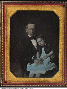"houghtonlib: "" Man holding a girl in his lap, between 1840 and 1860. TypDAG2173 Houghton Library, Harvard University """