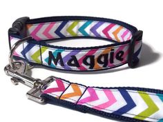Personalized Chevron Dog Collar on Navy Blue by FuzzyPawCreations, $24.95