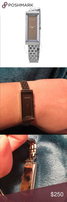 Gucci Women's Bag PRODUCT DESCRIPTION:  Stainless Steel Case,  Stainless Steel Bracelet,  Quartz Movement,  Scratch-resistant Sapphire,  Water Resistant Up To 30 Meters - 99 Feet,  Swiss Made   💯% AUTHENTIC! Serial number: 13458096   ‼️Fits for a small wrist!‼️ ‼️USED WITH MINOR SCRATCHES AND NEEDS BATTERY CHANGE! ‼️  I don't have box or papers because I got it as it is. Gucci Accessories Watches