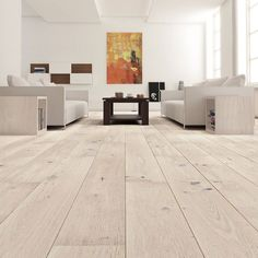 Snyggt golv i ek vitlaserad mattlack 1-stav