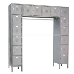 """16-Person Locker: Accommodates 16 users in only 69"""" of floor space! Spacious openings are perfect for storing bags, clothes, hats, shoes, books and more. These are popular in employee break rooms, gyms, schools or also make a great option in bedrooms without closets! #lockers #schoollockers"""