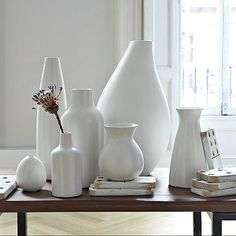 Pure White Ceramic Vases #WestElm