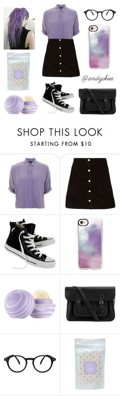 """""""lilac"""" by andzskiee ❤ liked on Polyvore featuring Topshop, Converse, Casetify, The Cambridge Satchel Company and See Concept"""