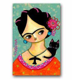 ORIGINAL acrylic painting FRIDA Kahlo and Black CAT folk art painting by tascha