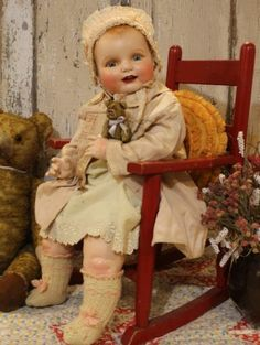 "Life Size 26"" Horsman Dimples, Vintage Old Antique Composition Baby Doll"
