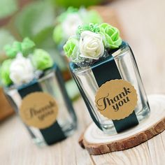 Mini Glass with Thank You Tag & Floral Decoration with Ribbon