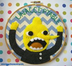 Adventure Time Lemongrab Embroidery- SOLD