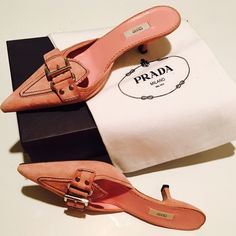 Prada Suede Kitten Heel Mules Pretty in Pink- Prada Timeless Elegance; these kitten heel miles are lovely in powder pink full suede, and classic buckle detail. Worn once in Italy and have been stored for nearly 10 years! They are in perfect condition and come with box and dust bag. Prada Shoes Mules & Clogs