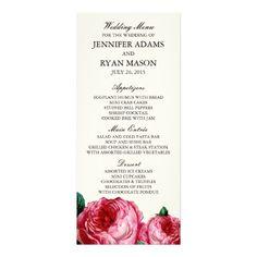 Floral Wedding Menu VINTAGE ROSE | WEDDING MENU CUSTOM RACK CARDS