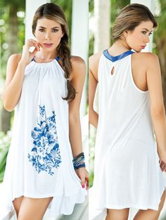 White Flowing Floral Dress