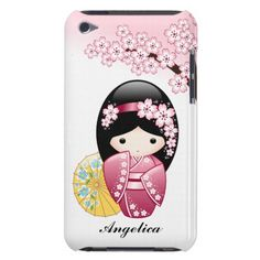 SOLD! To a customer in MO. Personalized Spring Kokeshi Doll iPod Touch Case #cute #kawaii #kokeshi