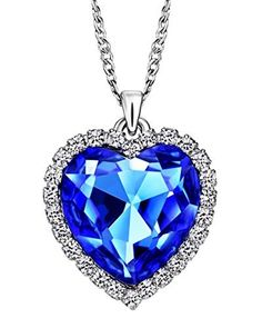 Neoglory Jewelry Charm Ocean Titanic Heart Blue Pendants Necklace Clear Crystal Rhinestone Jewelry20inches by neoglory -- Awesome products selected by Anna Churchill