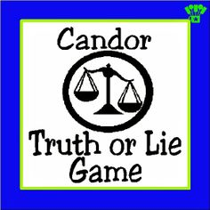 Candor Truth or Lie Game by Kandy Kreations. Great game for a Divergent Party instead of Truth or Dare