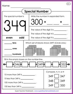 Learn all about place value with special number activities from Super Teacher Worksheets! Write the expanded form of the special number tell how many tens ones and hundreds there are compare the special number to larger and smaller numbers and much more! Place Value Activities, Place Value Worksheets, Math Place Value, Number Activities, Place Values, Mental Maths Worksheets, 2nd Grade Worksheets, Teacher Worksheets, Expanded Form Worksheets
