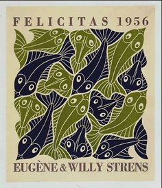'The four elements - Water' (1952) by Dutch artist & printmaker M.C. Escher (1898-1972). Woodcut used for the Strens' Holiday Greetings in 1956. via WikiPaintings