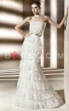 Trumpet/ Mermaid Sweep Train Lace Ribbon Tiered Wedding Dress