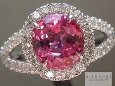 1.95ct Pink Cushion Cut Sapphire and Diamond Halo Ring R5367, Diamonds by Lauren.