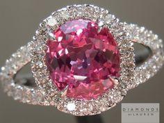 1.95ct Pink Cushion Cut Sapphire and Diamond Halo Ring R5367, Diamonds by Lauren.