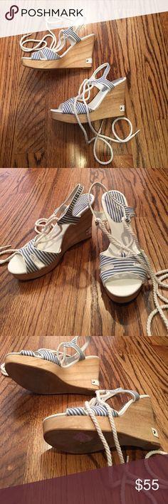 Ralph Lauren Blue & White Stripe Lace Up Wedges Ties Lace up the leg. Lauren Ralph Lauren Shoes