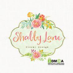 shabby chic premade florist logo design by stylemesweetdesign