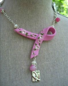 Pink Polymer Clay Flowers Breast Cancer Awareness Ribbon Necklace - As Seen In December 2012 Bead Trends Magazine