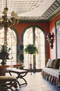 Trellis ceiling and windows