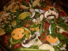Oven Roasted Orange Veggies.  Chop up the following in large pieces, 3 red potatoes, 1 sweet potato, 1 large white onion, 5 large mushrooms, 3 C baby carrots, 1 large tomato,1 green pepper, 2 large handfuls of fresh spinach, 1 seedless orange segmented.  Put on baking tray, mix and pour 5-6 shakes of teriyaki sauce on top and squeeze the juice from one more fresh orange. Sprinkle with Italian seasoning, s&p.   Bake covered 30 min, uncovered another 30 min.