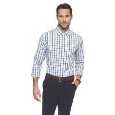 Grey chinos, light brown belt, checkered dress shirt