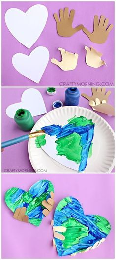 Handprint Earth Day Craft for kids to make! | http://CraftyMorning.com