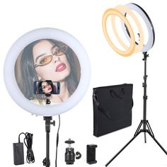 GSKAIWEN 12 INCH LED Ring Light Kit with Mirror,Tripod Stand Makeup Artist Light Dimmable 3200K//5500K Camera Studio Video Light Photography Lighting for Portrait Selfie YouTube Vlogging Salon Shooting