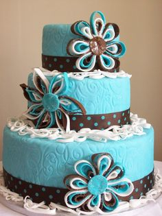 Multi-functional--Bridal shower, Birthday, etc...Tiffany Blue & Mocha Flower Frenzy Cake