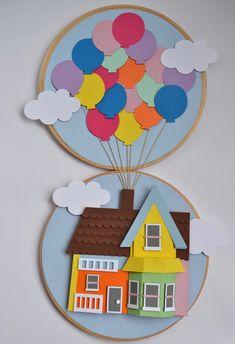 2 bastidores: um com a casa UP e na outra os balões. Feito com papel gramatura 180 gramas. Utilizei a técnica de scrapbbok - 2D. Up Pixar, Kids Crafts, Diy And Crafts, Paper Crafts, Diy Paper, Disney Up, Up Movie House, Art Activities For Toddlers, Up Theme