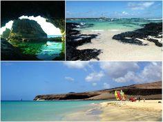 Entre las joyas secretas de Canarias están los charcos, piscinas naturales de agua de mar alimentadas por las mareas. Los de la foto son, de izquierda a derecha, el Charco Azul (El Hierro), El Cotillo-La Oliva (Fuerteventura) y la playa de Jandía (Fuerteventura).
