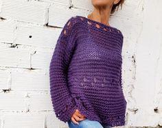 Jersey de mujer, suéter dos agujas, jersey tejido flojo, suéter de punto, regalo para ella, jersey púrpura
