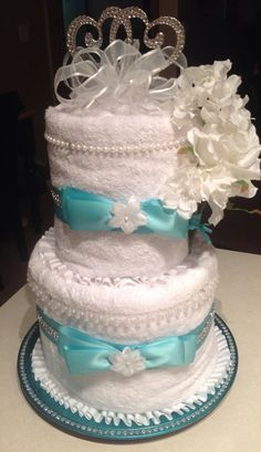 Bridal Shower / Wedding Deluxe Towel Cake Decorated in Tiffany Blue & Wrapped for Gifting on Etsy, $88.00